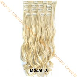 Искусственные волнистые термостойкие волосы на заколках №M024/613 (55 см) - 7 прядей, 100 гр.