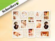 Фоторамка-коллаж СЕМЬЯ, белый цвет, для 12 фото, размер - 48х65 см (арт. S 4017)