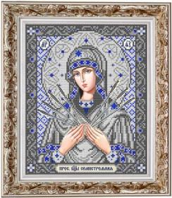 ИС-4040 Славяночка. Пресвятая Богородица Семистрельная в серебре. А4 (набор 850 рублей)
