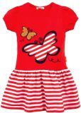 Платье с аппликацией бабочка красное