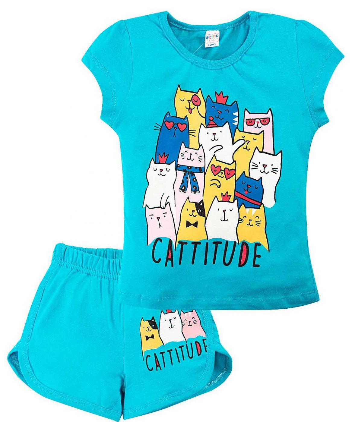 Комплект голубой из футболки и шорт Bonito