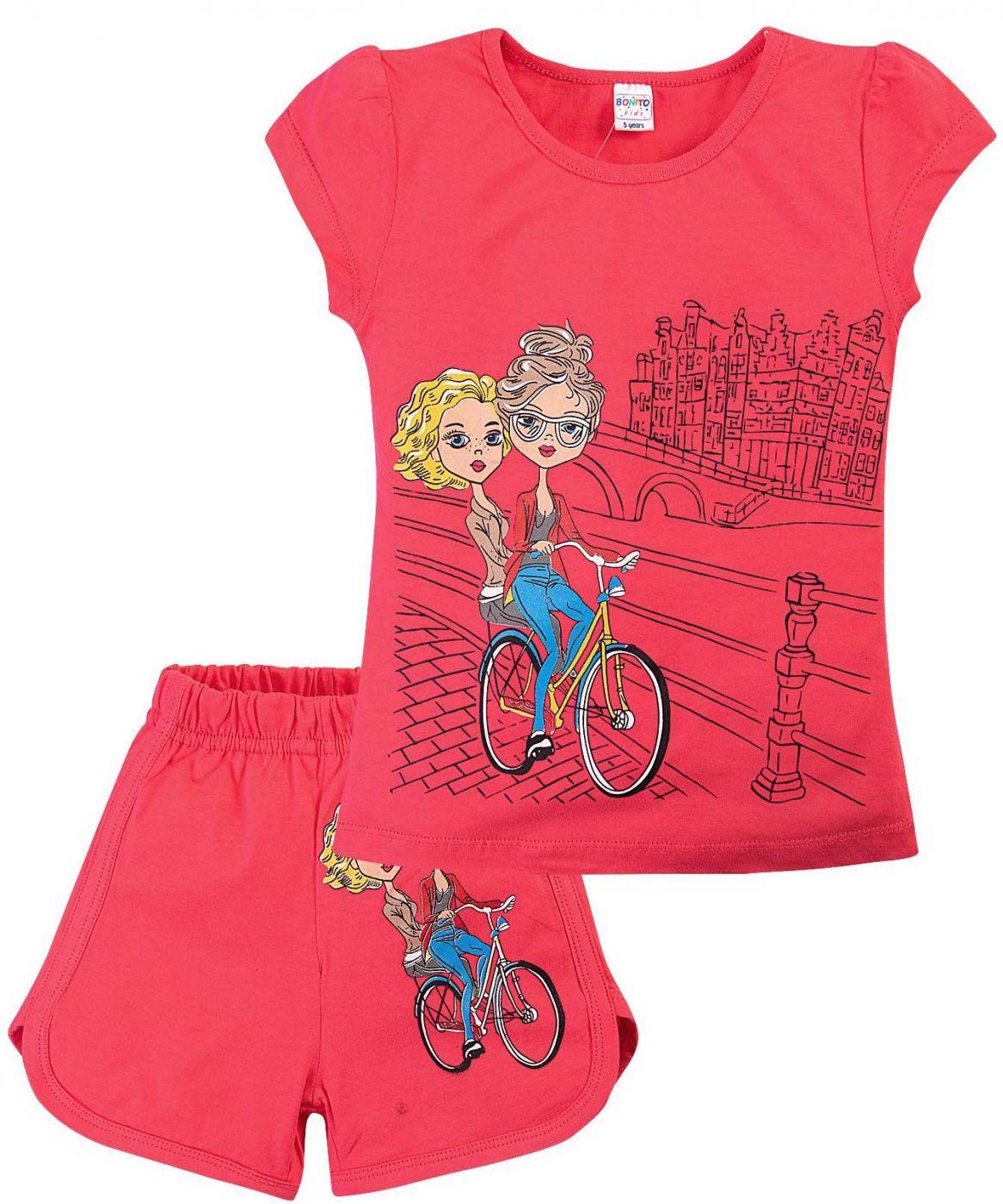 Комплект малиновый принт девочки на велосипеде