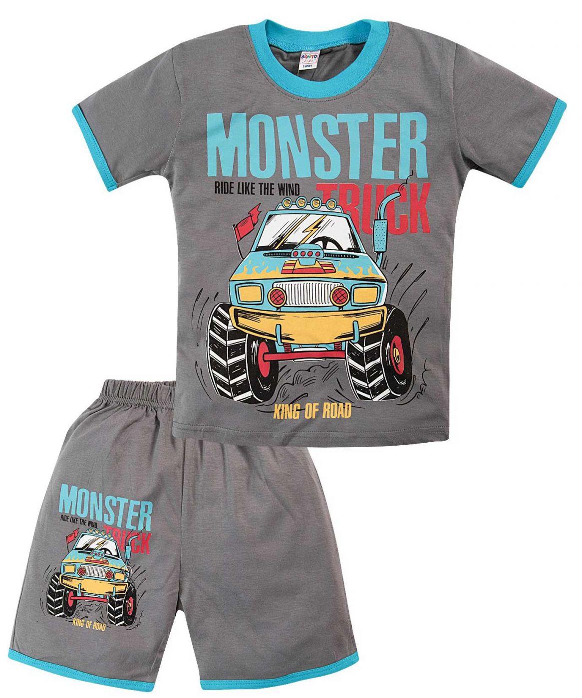 Комплект темно-серый с принтом Monster Truck