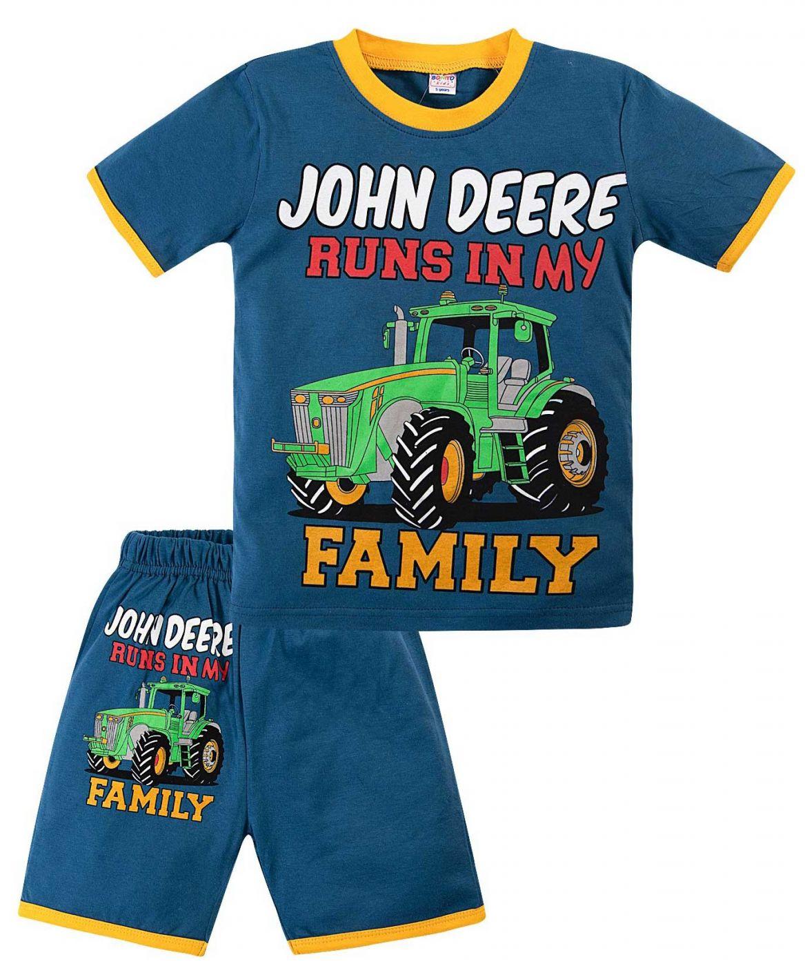 Комплект синий с принтом трактор