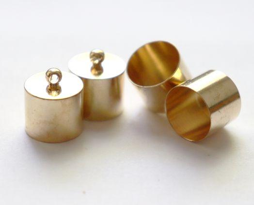 Колпачок цилиндр, с петелькой, D-14 мм, Золото, 4 шт/упак