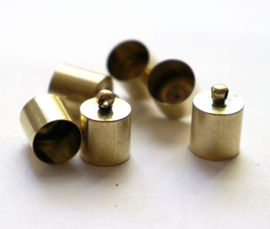 Колпачок цилиндр, с петелькой, D-10 мм, Бронза, 6 шт/упак