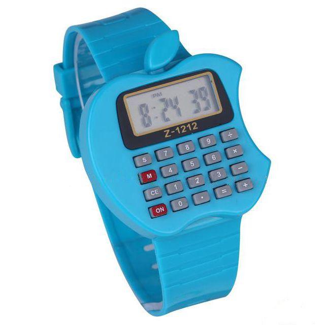 Детские электронные наручные часы-калькулятор Яблоко, цвет синий