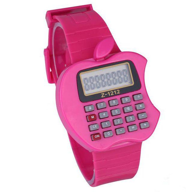 Детские Электронные Наручные Часы-Калькулятор Яблоко, Цвет Розовый