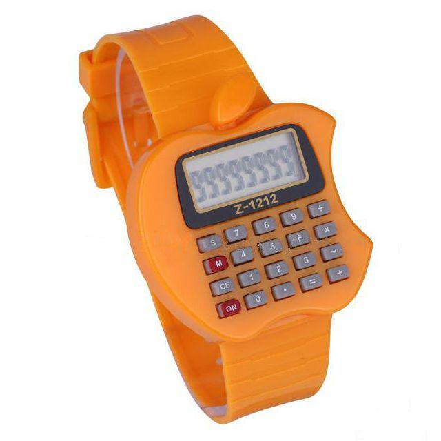 Детские электронные наручные часы-калькулятор Яблоко, цвет оранжевый