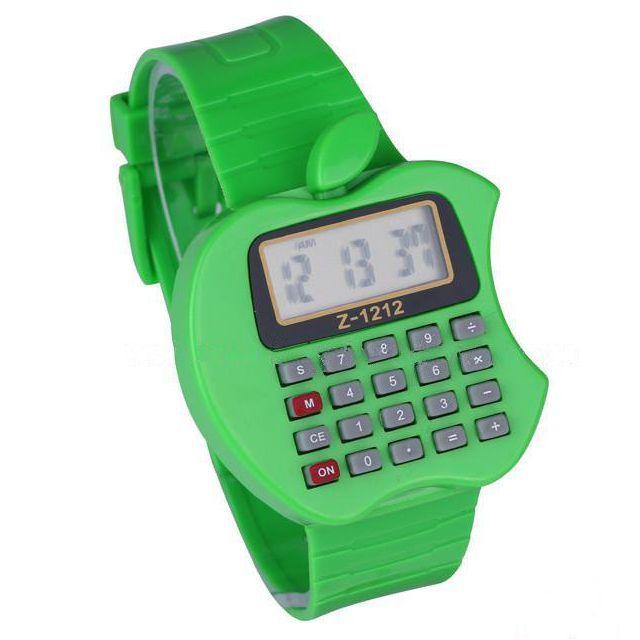 Детские Электронные Наручные Часы-Калькулятор Яблоко, Цвет Зеленый