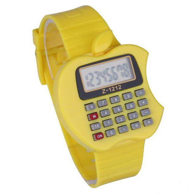Детские Электронные Наручные Часы-Калькулятор Яблоко, Цвет Желтый