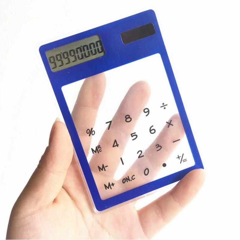 Ультратонкий карманный прозрачный сенсорный 8-разрядный калькулятор, цвет синий