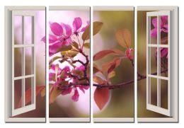 Цветущая ветка за окном