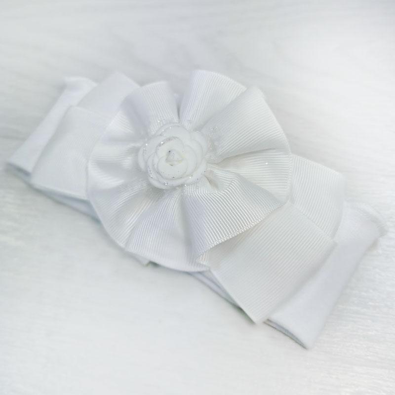 п1078-03 Повязка трикотажная с репсовым бантом Роза белая