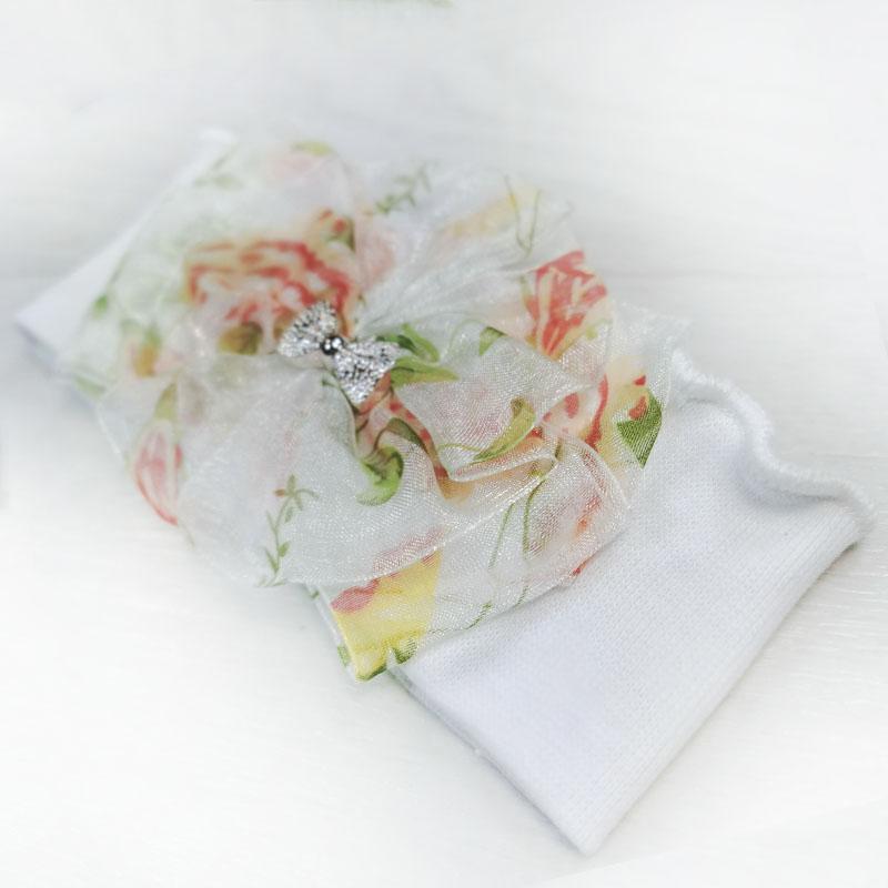 п1080-03 Повязка трикотажная с шифоновым цветком Бантик белая