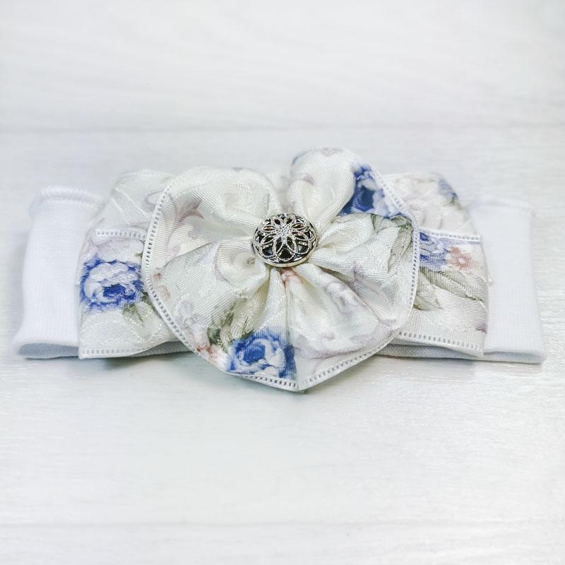 п1081-03 Повязка трикотажная с атласным текстурным бантом Цветочки белая