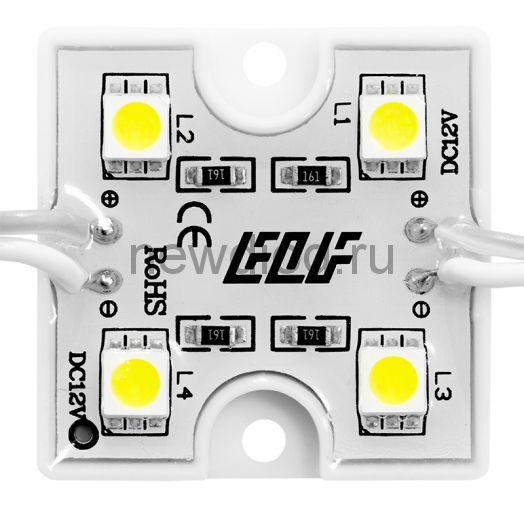 Модуль светодиодный ELF, 12B, 4SMD диода 5050, 12В, белый, тип В, корпус glue