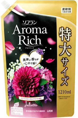 Lion Soflan Aroma Rich Fairy Кондиционер для белья с натуральными ароматическими маслами мягкая упаковка 1210 мл