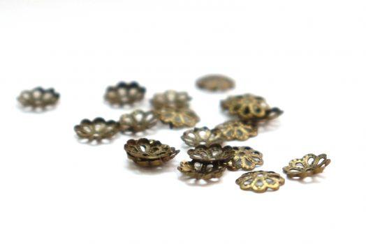 Шапочки для бусин, чеканная бронза, 6 мм, 20 шт/упак