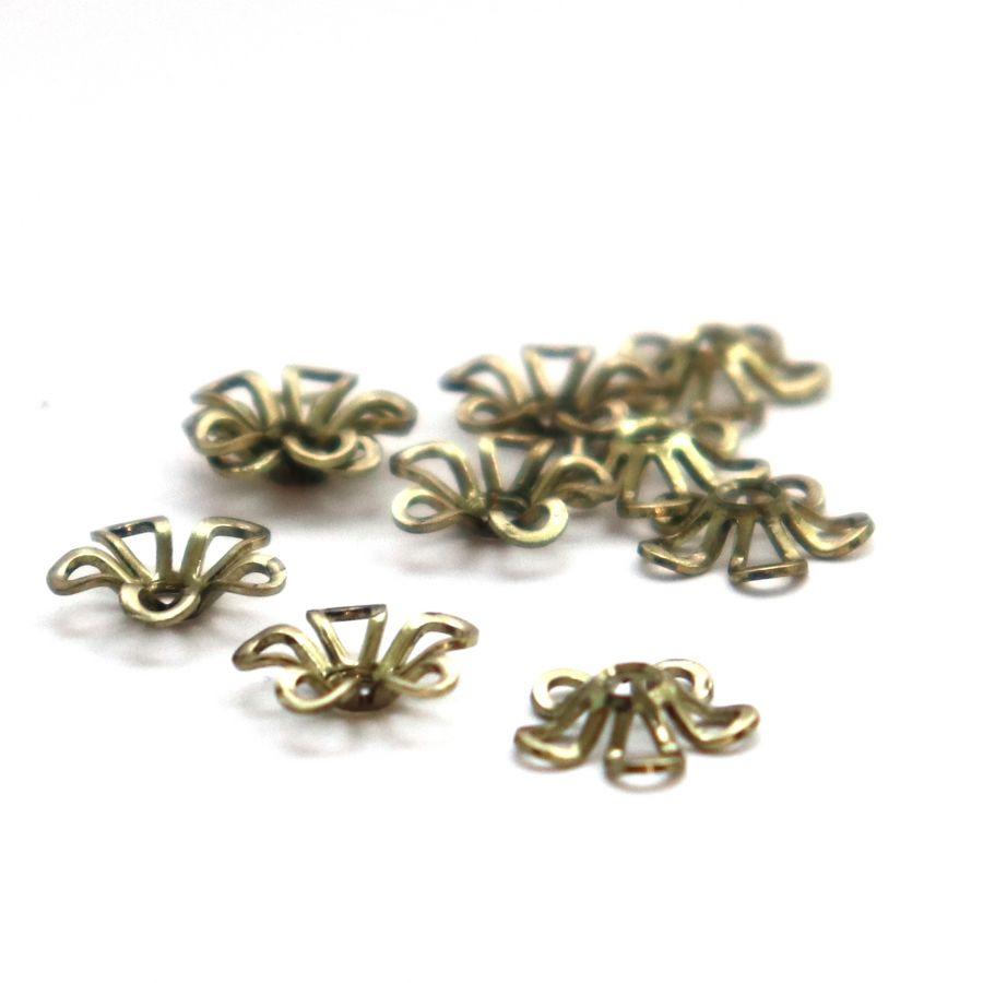 Шапочки для бусин № 11, чеканная светлая бронза, 9 мм, 10 шт/упак