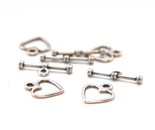 Замок-тоггл, сердечко, D-12мм, старое серебро, 4 шт/упак