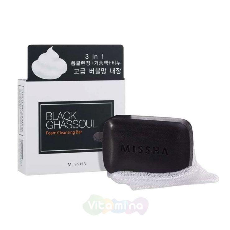 Missha Минеральное мыло от черных точек Black Ghassoul Foam Cleansing Bar, 80 г