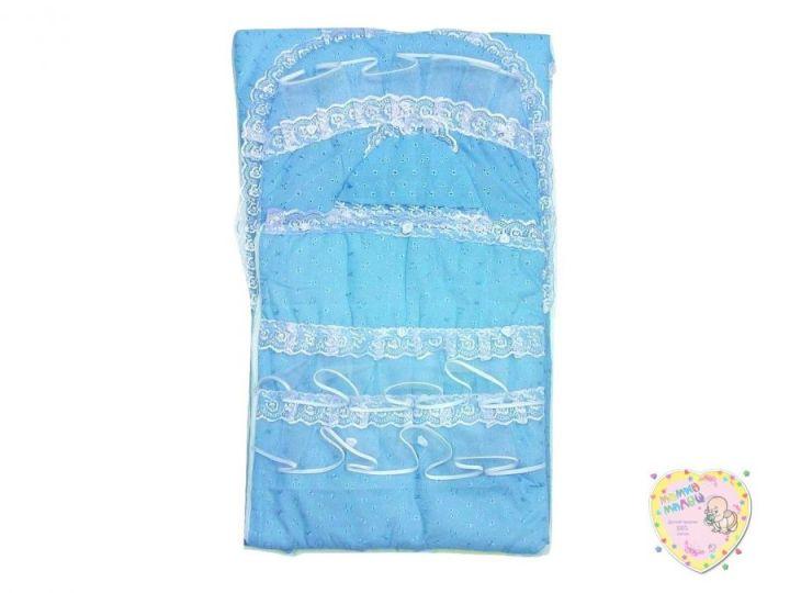 Комплект на выписку 10 пр. весна-лето 01499 (голубой атлас) Мамин Малыш OPTMM.RU
