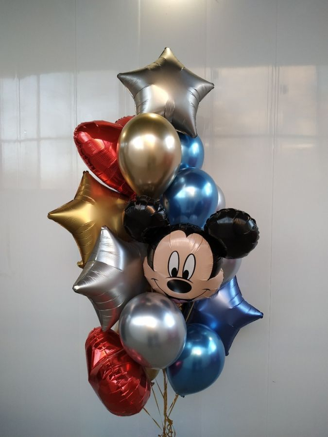 Хромы, Микки Маус, звёзды и сердца - стильное сочетание шаров на детский день рождения
