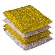 VETTA Губка кухонная в упаковке 4шт золот-серебр, 8х12см