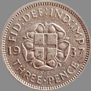 ВЕЛИКОБРИТАНИЯ АНГЛИЯ 3 пенса ( пенни ) 1937 СЕРЕБРО .500