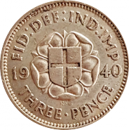 ВЕЛИКОБРИТАНИЯ АНГЛИЯ 3 пенса ( пенни ) 1940 СЕРЕБРО .500