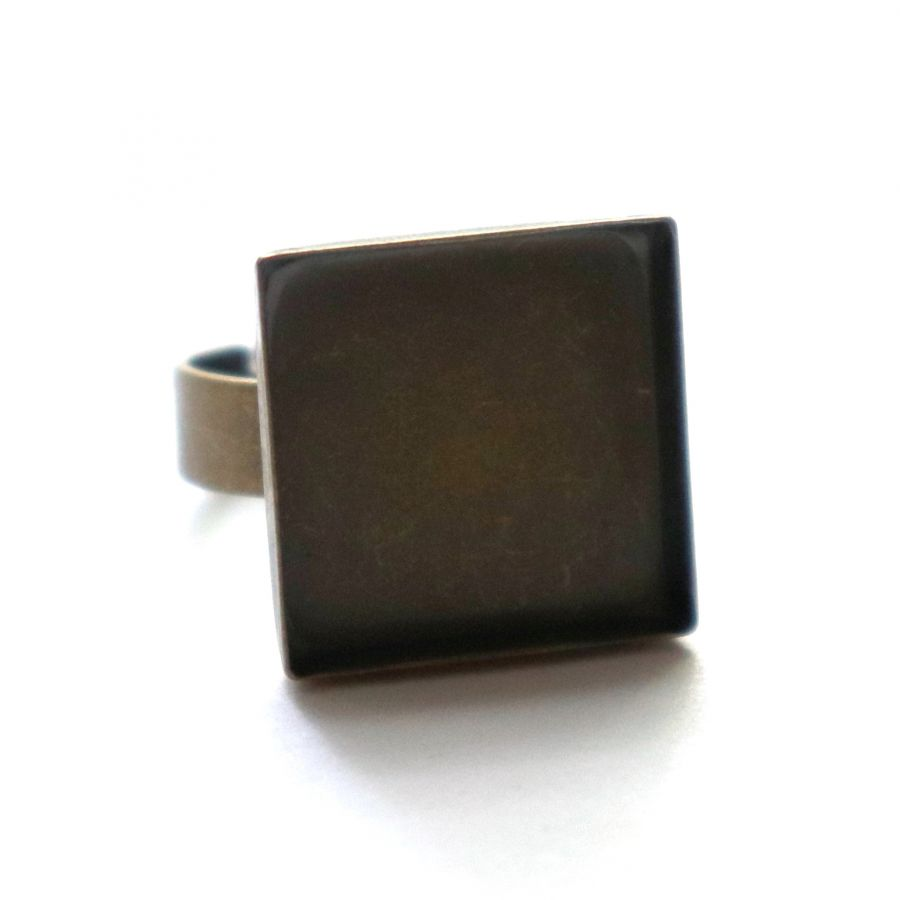 Основа для кольца, с площадкой, Квадрат 16 мм,  регул. разм., старая бронза, 1 шт/упак