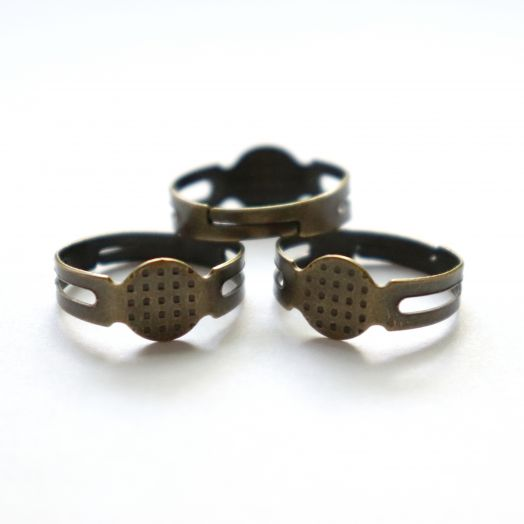 Основа для кольца, простая, цвет старая бронза,  3 шт/упак