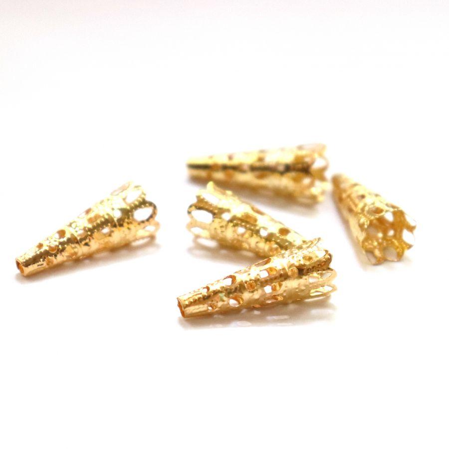 Шапочки для бусин, Колпачок № 14, цвет золото, 10 шт/упак