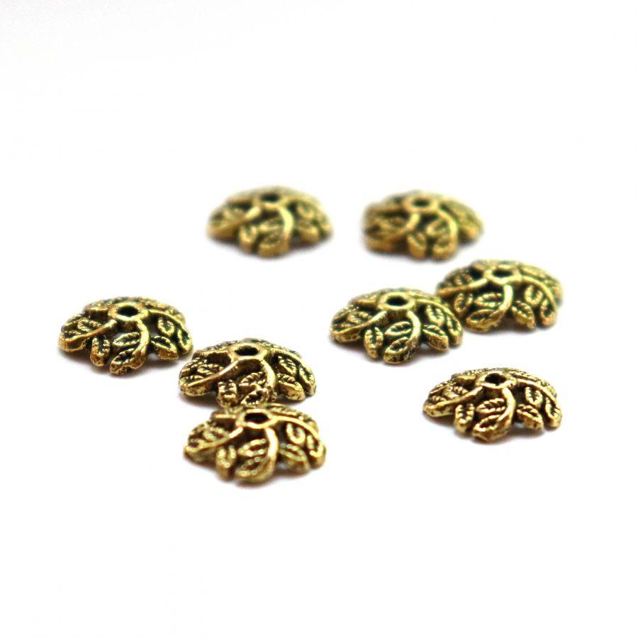 Шапочки для бусин, № 57, литое стар.золото, 12 мм, 8 шт/упак