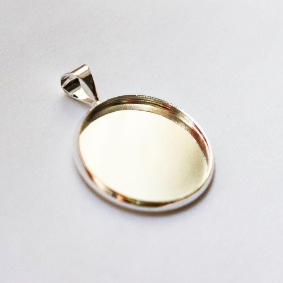 Рамка сеттинг, №5, Круг, чеканка, светлое серебро, 1 шт/упак
