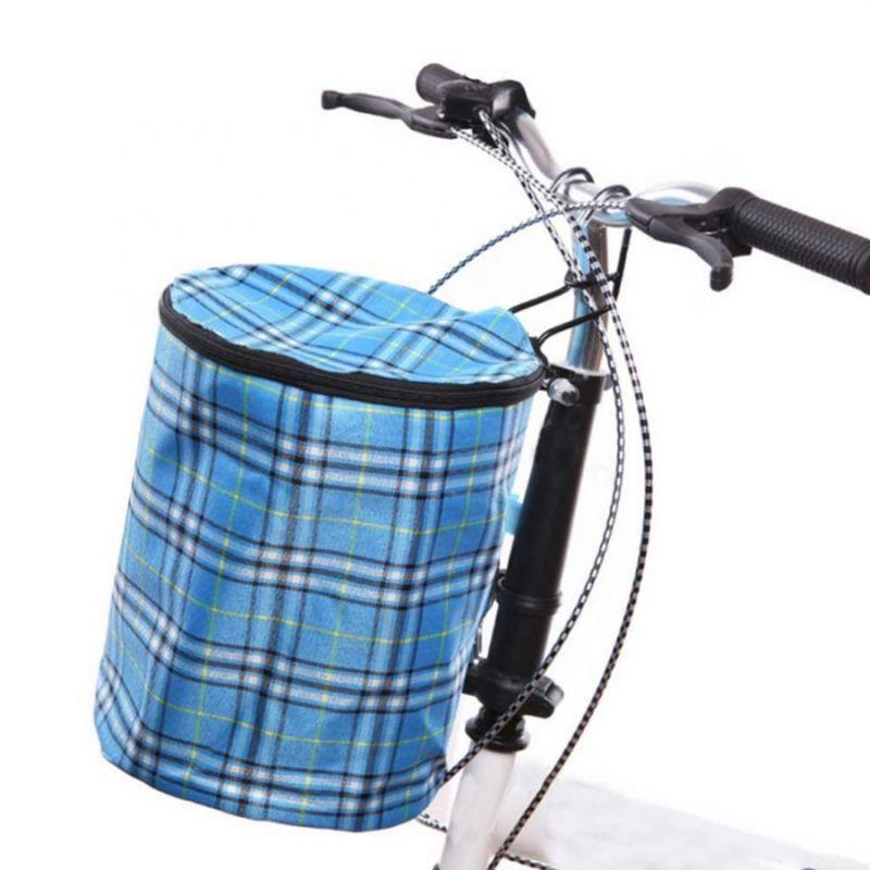 Складная подвесная тканевая корзина на руль велосипеда, 28х23 см, цвет голубой