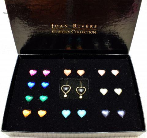 Серьги сердечки с комплектом из 10 сменных камушков (Joan Rivers США)