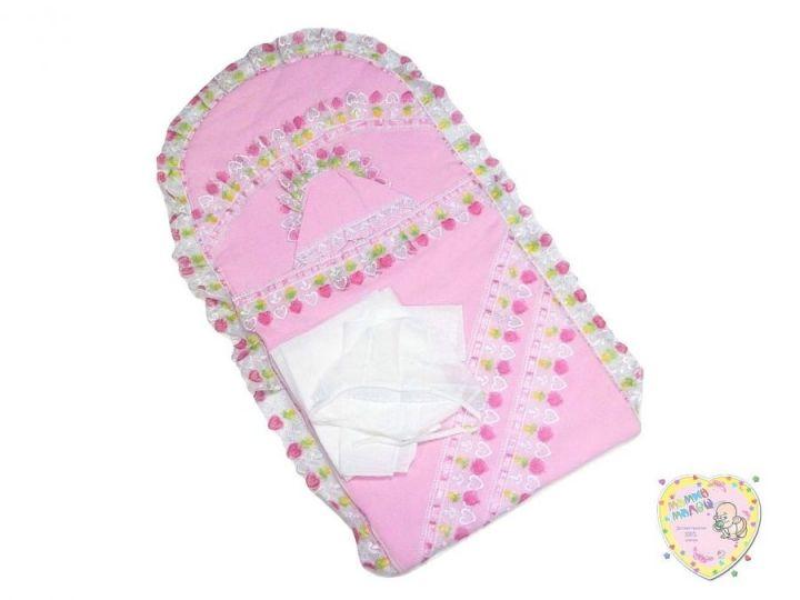 Комплект на выписку летний 4 предмета 01795-6 (интерлок розовый)