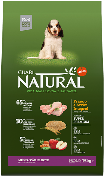 GUABI NATURAL Для Щенков Средних пород. Цыпленок и коричневый рис 20 кг ( новая упаковка )