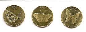 Тропические бабочки Сулавеси  5 рупий 2019 Набор из 3 монет