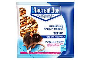 """Средство от крыс и мышей """"Чистый дом"""" зерновая приманка 200 г"""