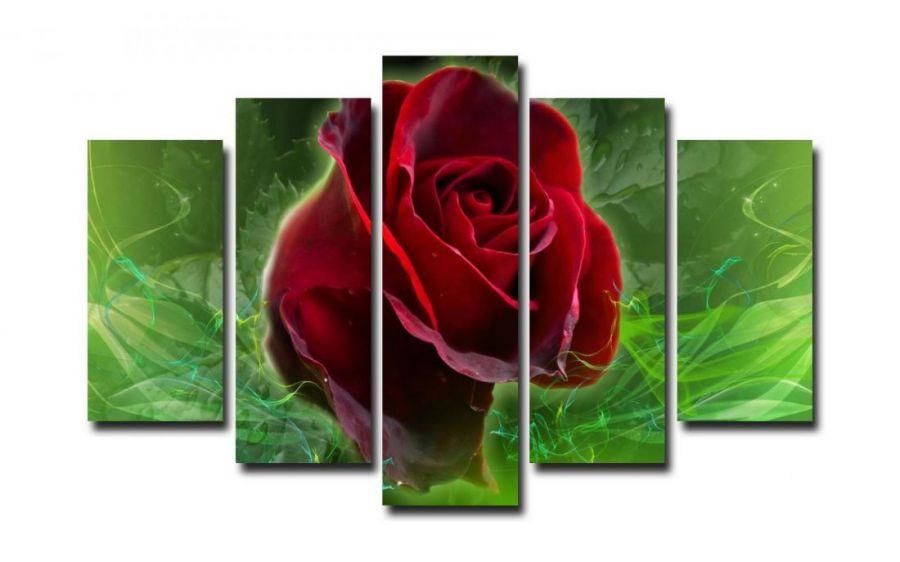 Модульная картина Алая роза