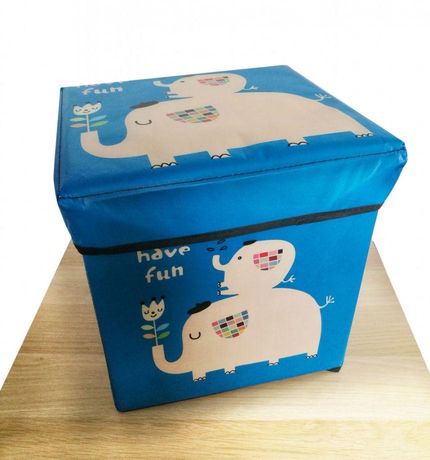 Детский складной пуф-короб для хранения 2 в 1, 29х30х30 см, Цвет Синий, Слоники