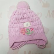 Шапка двухслойная вязка с цветочком, розовый