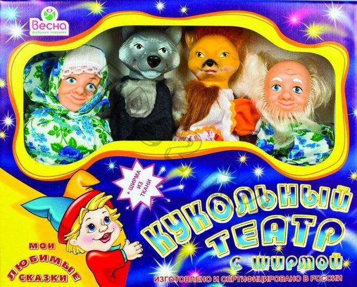 Кукольный театр Весна 4 персонажа с ширмой 1
