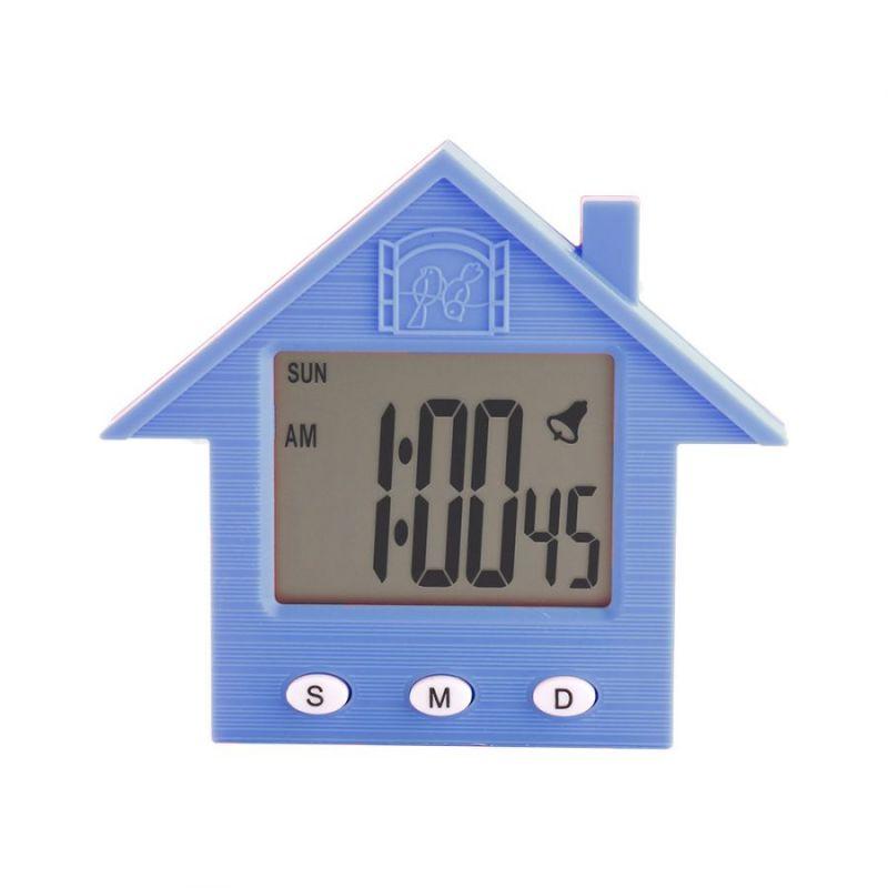 Электронные Часы-Будильник С Магнитом Домик NA-1638A, Цвет Голубой