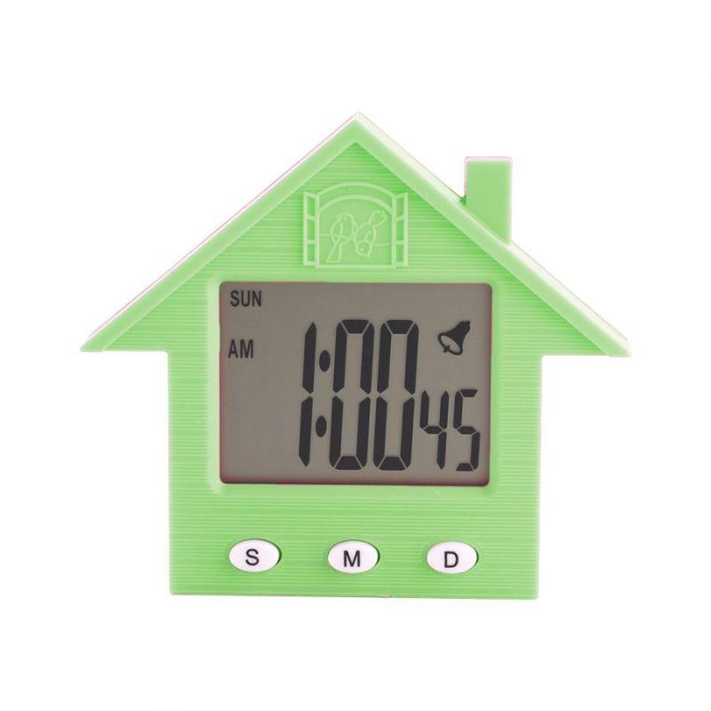 Электронные Часы-Будильник С Магнитом Домик NA-1638A, Цвет Зеленый