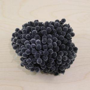 `Ягоды в сахарной обсыпке 12 мм (длина 16см), цвет черный, 1 уп = 40 ягодок ( 20 веточек)