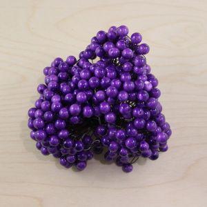 `Ягоды 10 мм (длина 16см), цвет - фиолетовый, 1 уп = 40 ягодок ( 20 веточек), Р-ЯГ0006-1-40